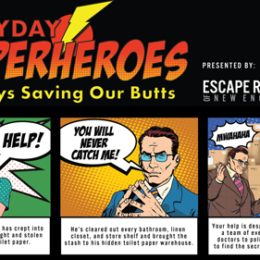 A screenshot of the homepage neroomescapes.com With the headline Everyday Superherpos always saving our butts presented by escape rooms of new england. Image includes comic book pop art of woman screaming for help, man saying you will never catch me and man again laughing Mwahahahaha
