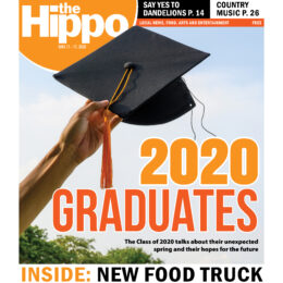 "A cover of the Hippo Press for June 11th 2020 including a hand holding a graduation cap in the air and the headline ""2020 Graduates"""