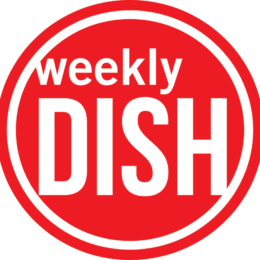 Red round icon that reads Weekly Dish