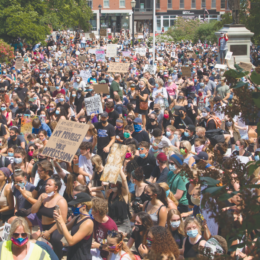 A crowd gathered at the New Hampshire Statehouse in Concord June 6 after marching from Memorial Field for the 2020 Black Lives matter protests.