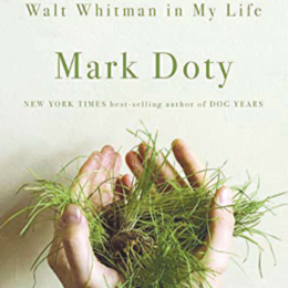 Cover of What is the grass walt whitman in my life by mark doty. A cool white background, green font, a set of hands holding fresh green grass