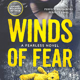 The cover of the book Winds of Fear by Glede Browne Kabongo. The illustration of a lower half of a woman's face, in the woods with a yellow teddy bear laying in the grass.
