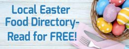 Click to read our local easter food directory. Kitchen cutlery with easter eggs and mimosa flowers on wooden table