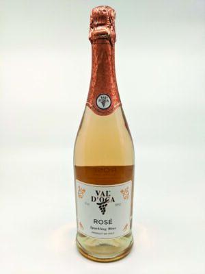 Rose wine bottle on white background