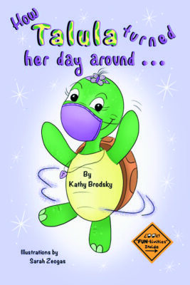 kids book cover with dancing turtle illustration