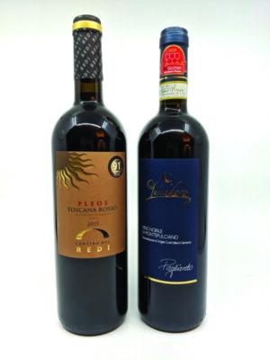2 bottles of wine on white background