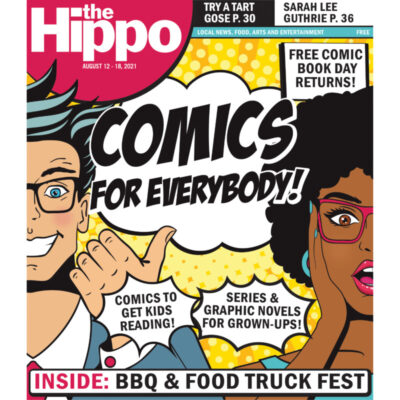 cover of the Hippo featuring a comic style illustrated man and woman