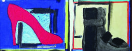 2-dimensional artwork depicting six different types of shoes, drawn into colorful boxes