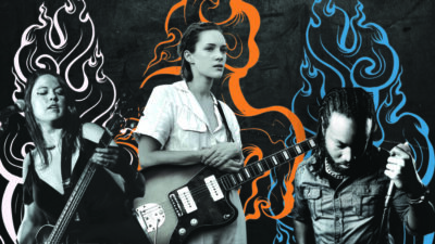 collage of three musicians, each in front of abstract smoky graphics
